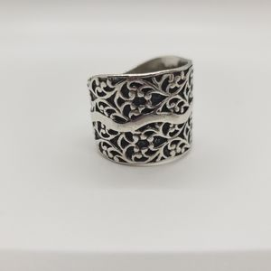 Silpada Sterling Silver Floral Scroll Ring,  sz 10